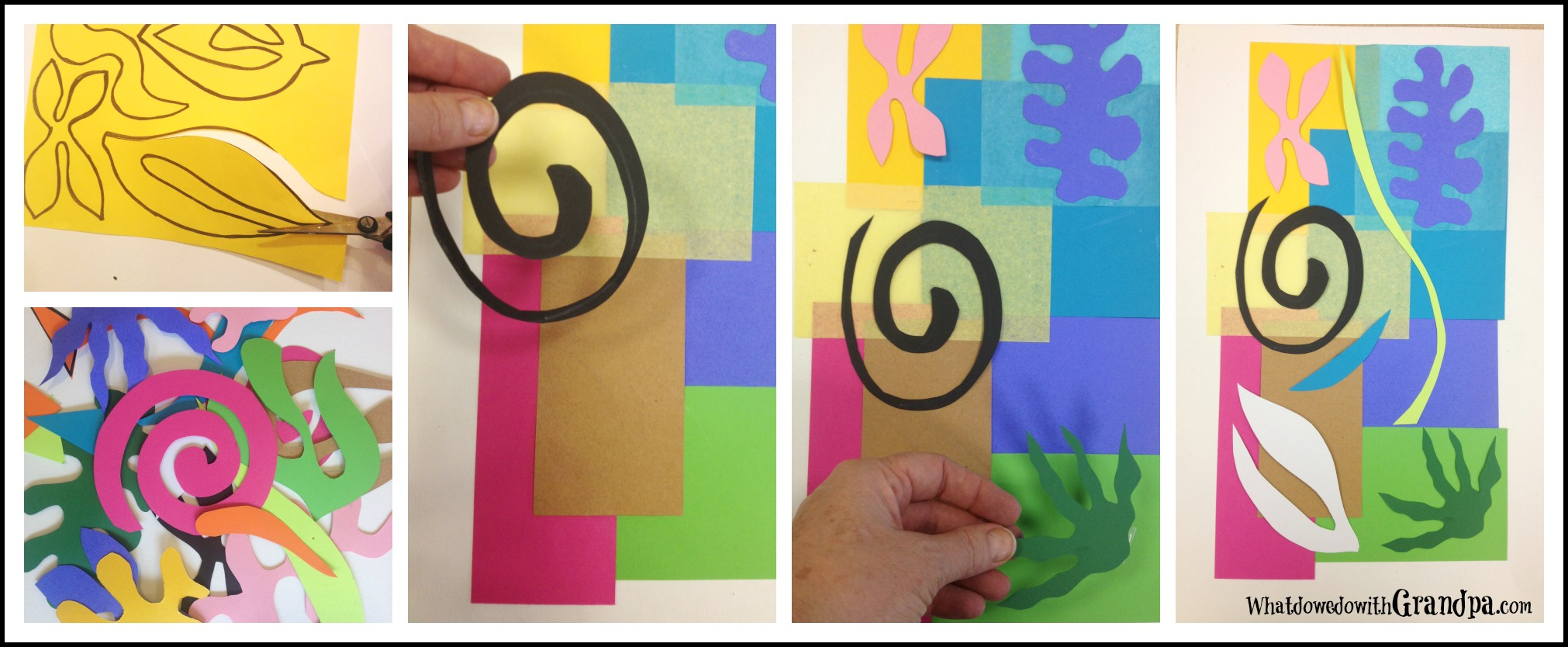 "(Easy ""Matisse Cutouts Collage""...Fun activity to do with someone who has Alzheimer's!)"